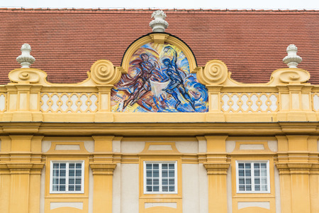 by virtue: Cardinal virtue Temperance on facade in Prelates courtyard of Melk Abbey in Wachau Valley, Lower Austria Editorial