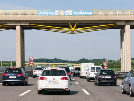 autobahn: Cars in traffic jam on Autobahn motorway A1 in Lower Austria, Austria