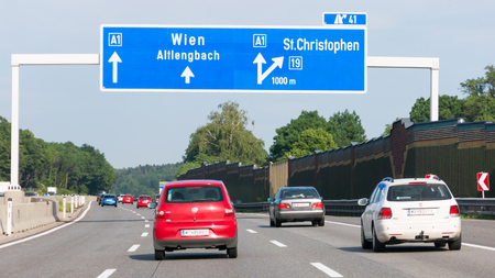 autobahn: Traffic and direction signs on Autobahn motorway A1 in Lower Austria near Vienna, Austria