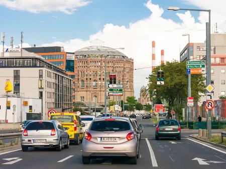 Traffic on Doblerhofstrasse near Gasometer City in Simmering district in Vienna, Austria