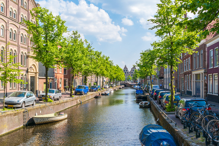 benelux: Bakenessergracht canal in old town of Haarlem, Holland, Netherlands