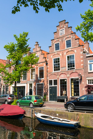 gables: Houses with stepped gables on Bakenessergracht canal in old town of Haarlem, Holland, Netherlands Editorial