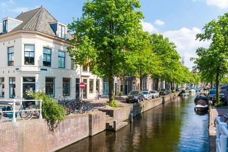 benelux: Bakenessergracht canal from Korte Jansbrug bridge in old town of Haarlem, Holland, Netherlands Editorial