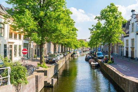 streetscene: Bakenessergracht canal from Korte Jansbrug bridge in old town of Haarlem, Holland, Netherlands Editorial