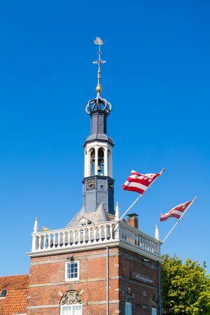 excise: Top of Accijnstoren, excise tower, now harbour office in Alkmaar, North Holland, Netherlands