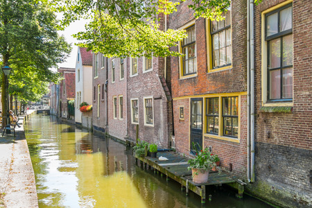 north holland: Houses and quay at Kooltuin canal in Alkmaar, North Holland, Netherlands