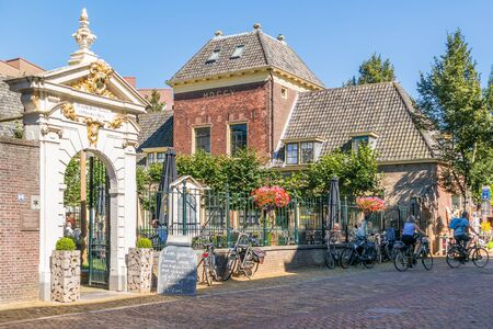 Street scene of Hof van Sonoy in Alkmaar, North Holland, Netherlands Editorial