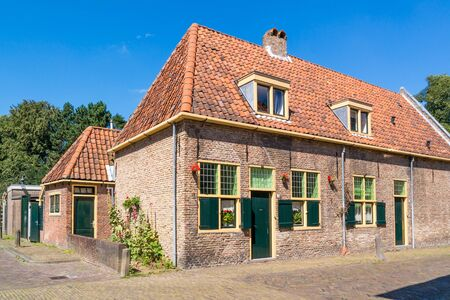 north holland: Old brick house in Geest street in Alkmaar, North Holland, Netherlands