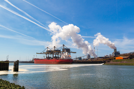 Steelmaking industry and North Sea Canal in IJmuiden near Amsterdam in Netherlands Redakční