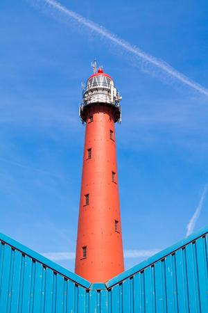 Cast iron high lighthouse of North Sea port IJmuiden, North Holland, Netherlands Stock Photo