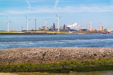 Steel making industry and North Sea Canal in IJmuiden near Amsterdam, Netherlands