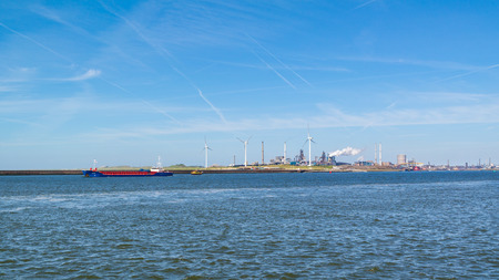 North Sea Canal and steel industry plant in seaport IJmuiden near Amsterdam, Netherlands