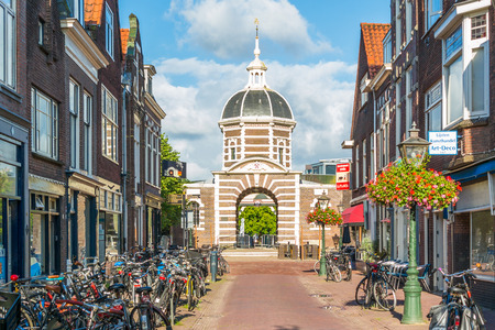 City gate Morspoort in old town of Leiden, South Holland, Netherlands