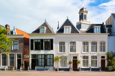 house gables: Row of historic gables of houses on Stille Rijn in old town of Leiden, South Holland, Netherlands