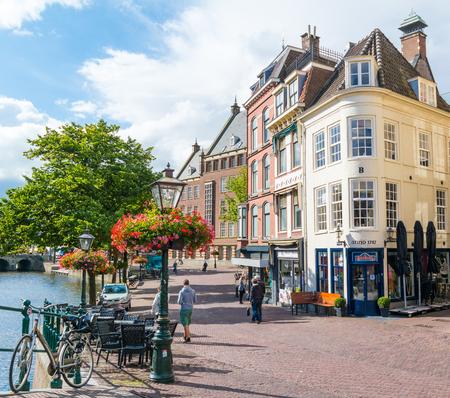 streetscene: Street scene of Vismarkt in old town of Leiden, South Holland, Netherlands