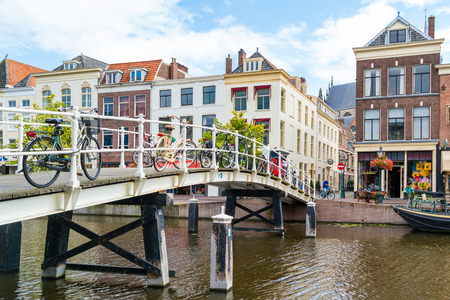 Bridge over New Rhine canal in old town of Leiden, South Holland, Netherlands