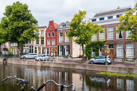 house gables: Gables of historic houses on Rapenburg canal in old town of Leiden, South Holland, Netherlands