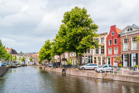 Rapenburg canal in old town of Leiden, South Holland, Netherlands