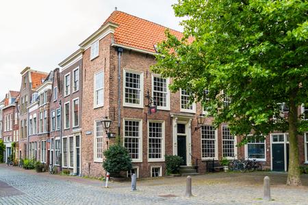 Street scene of Pieterskerkhof in old town of Leiden, South Holland, Netherlands Editorial