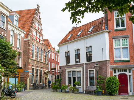 Street scene of Gerecht with Latin School building in old town of Leiden, South Holland, Netherlands