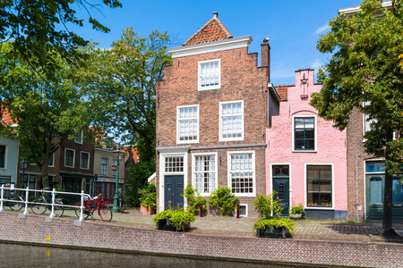 Historic gables of houses on Groenhazengracht canal in old town of Leiden, South Holland, Netherlands