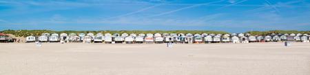 ijmuiden: Row of beach houses or huts on IJmuiden beach at North Sea coast in Netherlands