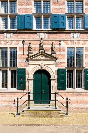 Entrance door of town hall in old town of Naarden, North Holland, Netherlands