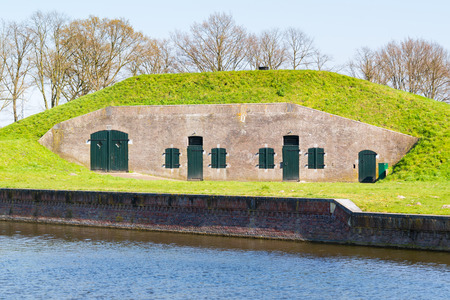 Barrack on ravelin Oranje-Promers in old fortified town of Naarden, North Holland, Netherlands Editorial