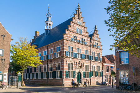 Town hall in Marktstraat street in old town of Naarden, North Holland, Netherlands