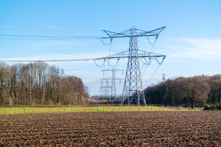 rwe: High tension wires of power station Clauscentrale near Maasbracht in the province of Limburg, Netherlands