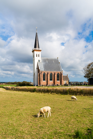 hoorn: Church of village Den Hoorn on West Frisian Waddensea island Texel, North Holland, Netherlands Stock Photo