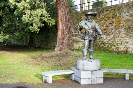 Statue of dArtagnan in public park in city of Maastricht in Limburg, Netherlands