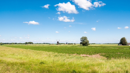 Panorama of polder with two hollow post windmills near Sleeuwijk in Brabant, Netherlands