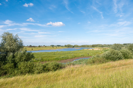 Panorama of nature reserve Breemwaard in flood plains of river Waal from dike on south bank near Nieuwaal, Bommelerwaard, Gelderland, Netherlands Stock Photo