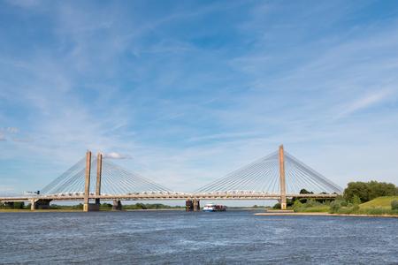 Panorama of Martinus Nijhoff Bridge and Waal river near Zaltbommel, Gelderland, Netherlands