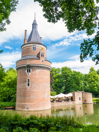 Moat and Burgundian tower of Duurstede castle in Wijk bij Duurstede in province Utrecht, Netherlands Editorial
