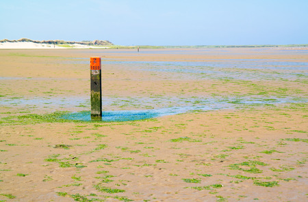 Beach pole with red top, distance marker for basic coastline indicating tide line of North Sea, Goeree, South Holland, Netherlands