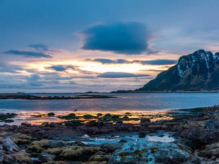 Sunset at Atlantic Ocean coast near Gimstad, Bo, Langoya Island, Vesteralen, Norway