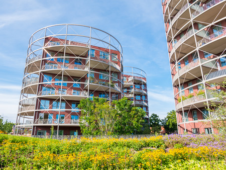 Modern apartment buildings in residential area in Hilversum, Noord-Holland, Netherlands
