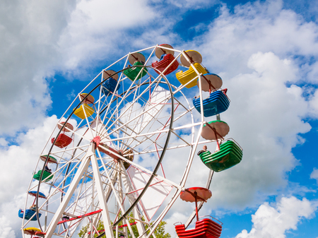 Ferris wheel at funfair or travelling carnival during Admiralty Days in Dokkum, Friesland, Netherlands