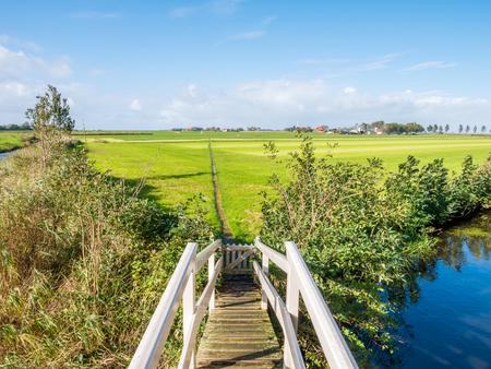 Polder landscape with grassland, bridge and footpath near Workum, Friesland, Netherlands