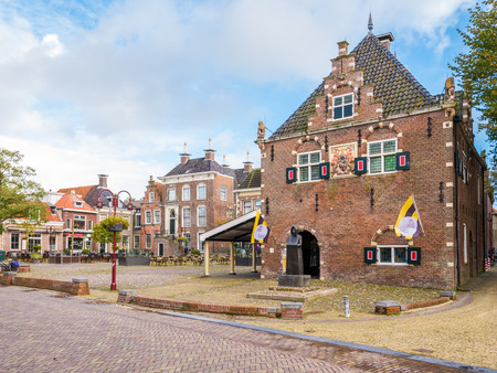 Weighing house and Market Square in city centre of Workum, Friesland, Netherlands