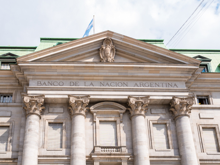 Front facade of building of Banco de la Nacion Argentina, National Bank of Argentina on Plaza de Mayo in city centre of capital Buenos Aires, Argentina