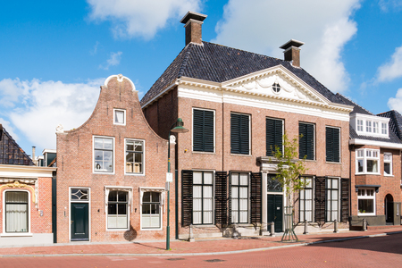 Facades of historic houses in old town of Dokkum, Friesland, Netherlands Editorial