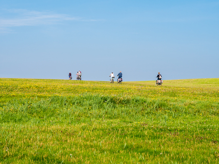 Group of bicyclists cycling on dike with grass field on a sunny day with blue sky, Schiermonnikoog, Netherlands