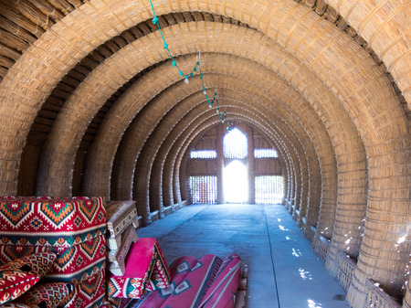 Mudhif, traditional Iraqi reed house of Marsh Arabs aka Madan used as guest house and for ceremonies, Majnoon, Iraq, Middle East Redactioneel
