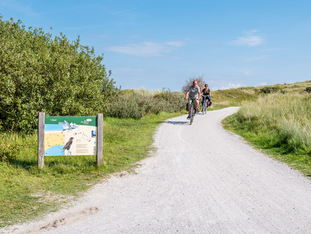 People riding bicycles and information board in dunes of nature reserve Het Oerd on West Frisian island Ameland, Friesland, Netherlands