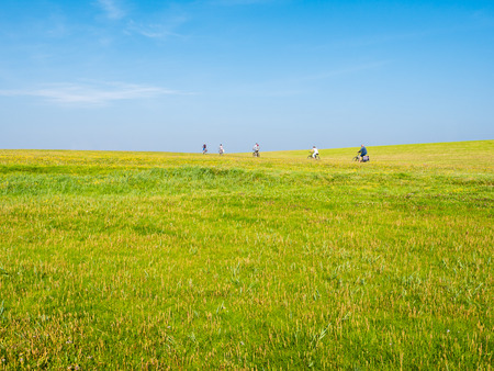 People riding bicycles on dike with grass field on a sunny day with blue sky, Schiermonnikoog, Netherlands