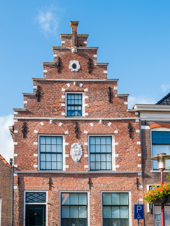 Stepped gable of historic house in old town of Workum, Friesland, Netherlands