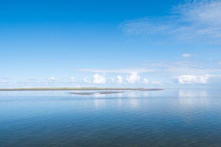 Coastal panorama of West Frisian island Schiermonnikoog in Waddensea, Friesland, Netherlands